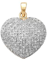 9ct Gold 0.45ct Diamond Heart Pendant On A Belcher Necklace
