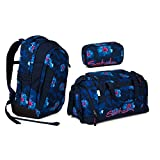 Satch Sleek Waikiki Blue Schulrucksack Set 3tlg.