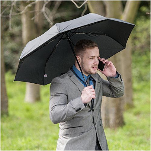 Umbrella – Windproof Reinforced Frame, Tested in 60mph Winds, It's Built To Last or Your Money Back. Black Automatic Umbrella- Auto Open Close for Fast Release Compact