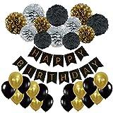 Recosis HAPPY BIRTHDAY Bannière Joyeux Anniversaire avec 20 Pièce Ballons à Latex et 12 Pièce Pompon Papier de Soie pour Fête Anniversaire, Noir, Or et Argent