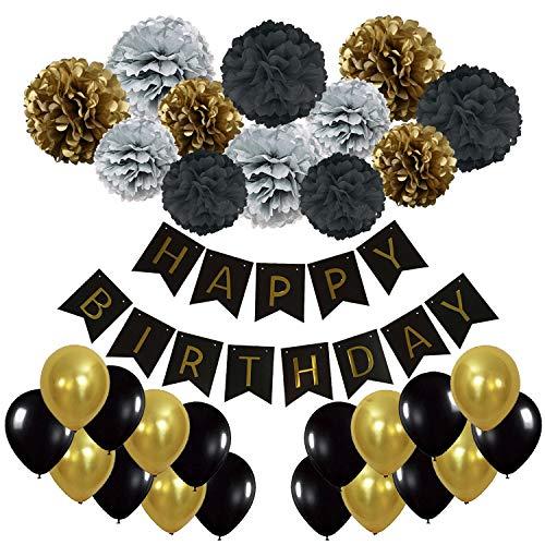 Recosis Pancartas de Banderines de Happy Birthday con 12 Piezas Pom Poms Bola de la Flor y 20 Piezas Globos de Fiesta para Decoración de Fiesta ( Negro, Dorado y Plata)