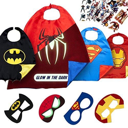 LAEGENDARY Superhelden Kostüme für Kinder - 4 Capes und Masken – Halloween Kostüm - Im Dunkeln Leuchtendes Spiderman Logo - Spielsachen für Jungen und Mädchen - Karneval Fasching (Marvel Superheld Kostüme)