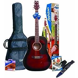 Guitarra acústica Ashton D25WRS - en Color Vino, Rojo