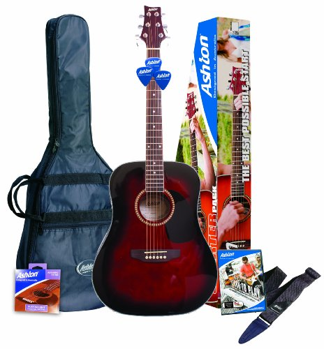 Ashton D25WRS - Guitarra acústica, color Rojo (Wine Red)