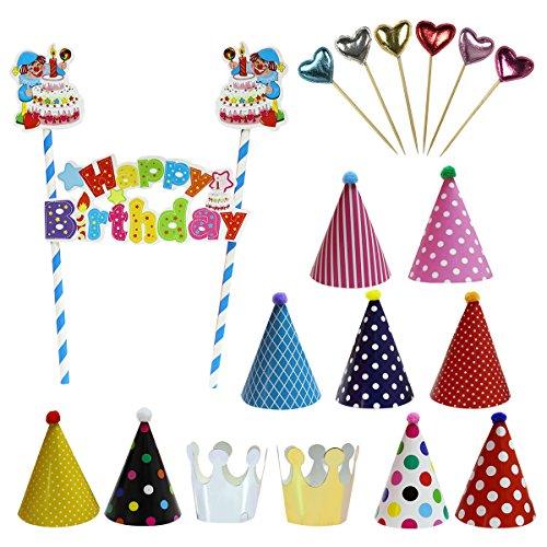 (BSL Partyhüte Set, 11 Stück Kindergeburtstags Party Kegel Hüte mit Pom Poms, 1 Stück Clown Stil Happy Birthday Cake Topper Dekoration und 6 Stück Glitzer Herzen Geformt Cake Zahnstocher)