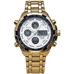 ZEIGER Herren Uhr Digital Analog Quarz Armbanduhr Gold Edelstahl Datum Licht Alarm Herrenuhr W363