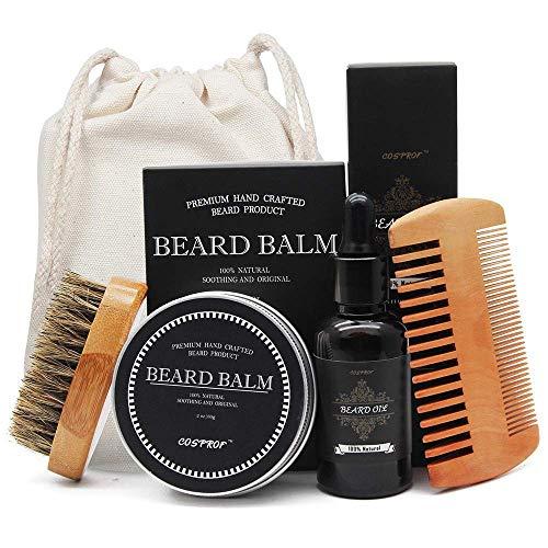 Aptoco Beard Grooming e taglio kit for Men Care, spazzola per barba, pettine per barba, non profumato olio da barba e barba balsamo