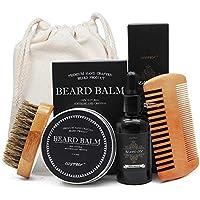 Kit de barba Aptoco para el cuidado de los hombres, cepillo de barba y peine de barba sin perfume, aceite de barba y bálsamo de barba regalo para niño amigo