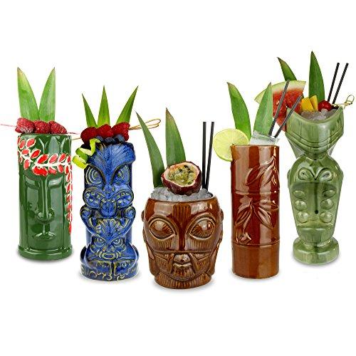 bar@drinkstuff Tazze ceramica per cocktail party stile tropicale Tiki set da 5 pezzi.