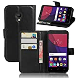 OWbb Leather Case for Alcatel OneTouch Pixi4 (5.0inch) OT5045X smartphone interior slots and Cell Phone Wallet Flip Phone Cell Phone Case (black)