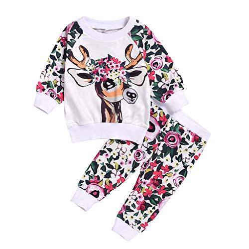 JiaMeng 6 Monate-3 Jahre Unisex Kinder Weihnachten Kitz Drucken Lange ÄrmelT-Shirt Tops und Blumen Drucken Lange Hosen Weihnachten Süß Anzug