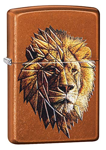 Zippo Briquet Coupe-Vent Motif Lion Polygonal Toffee Regular