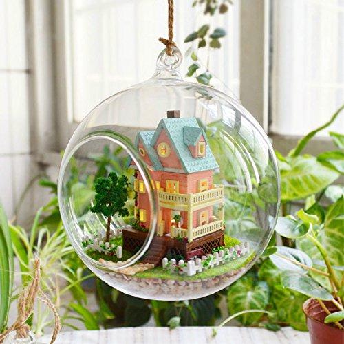 DIY Glas Ball Dolls House Handwerk Miniatur LED und befestitungszubehör Stimme controller & Möbel