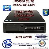 HP Compaq 8000 Elite SFF Desktop Business PC (Intel Core 2 Duo E8400 3.00 GHz, 2 GB RAM, 250 GB HDD, GMA X4500, DVD-Brenner, OHNE Betriebssystem)