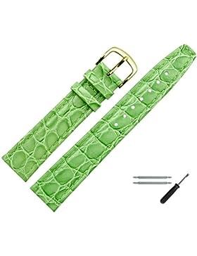 Uhrenarmband 16mm Leder grün Prägung, Kroko, mit Naht - inkl. Federstege & Werkzeug - Lederarmband für Uhren mit...