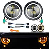 "YaeTek Pair of 7"" Halo Angel Eye 45W Round Cree Led HEADLIGHT DRL High Low Beam Amber Turn Signal for Harley Davidsion Motorcycle LJ Tj Fj Cruiser Hummer Land Rover defender Mercesdes Benz G"