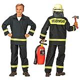 Kinder-Feuerwehr-Kostüm Grösse 152 Feuerwehr-Mann Feuerwehr-Uniform Hose Jacke Schwarz THW Anzug Faschings-Kostüme Schadstoff geprüft