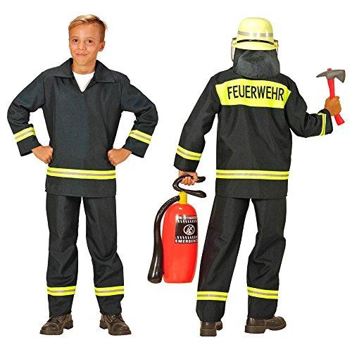 Nick and Ben Kinder-Feuerwehr-Kostüm Grösse 152 Feuerwehr-Mann Feuerwehr-Uniform Hose Jacke Schwarz THW Anzug Faschings-Kostüme (Mann Ohne Abzeichen)