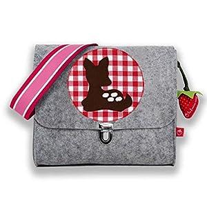 la fraise rouge: Kindergartentasche Filztasche für Mädchen mit Namen & Kitz/Bambi auf Vichy Karo rot