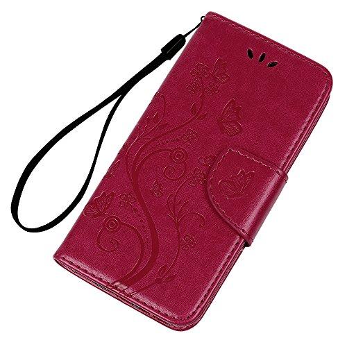 Badalink Hülle für iPhone 6 Plus/6s Plus Rosarot Schmetterling Handyhülle Leder PU Case Cover Magnet Flip Case Schutzhülle Kartensteckplätzen und Ständer Handytasche mit Eingabestifte und Staubschutz  Rosarot