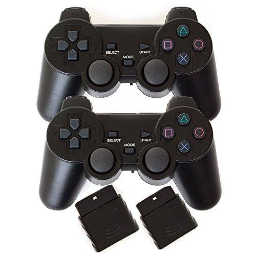 Gaming-Controller für PS2 Gamepad (2,4 GHz, kabellos, 2 Packungen) Schwarz/Schwarz