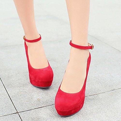 COOLCEPT Femmes Mode Sangle de cheville Talon Aiguille Soiree Robe Talons hauts Court Chaussures Rouge