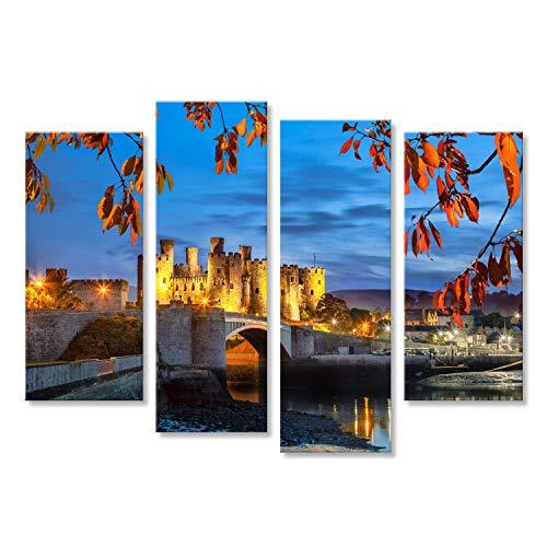 islandburner Cuadro Cuadros Famoso Castillo de Conwy en Gales, Reino Unido, Walesh Serie de Castillos Sobre Lienzo Formato Grande Listo para Colgar estupendo