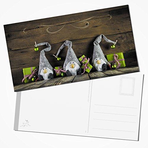 Weihnachts-Postkarten 10 große XXL WEIHNACHTS-WICHTEL Foto-Motiv grün rot braun grau weiß natürlich Foto-Karten Weihnachtskarten doppelseitig 23,5 x 12,5 cm
