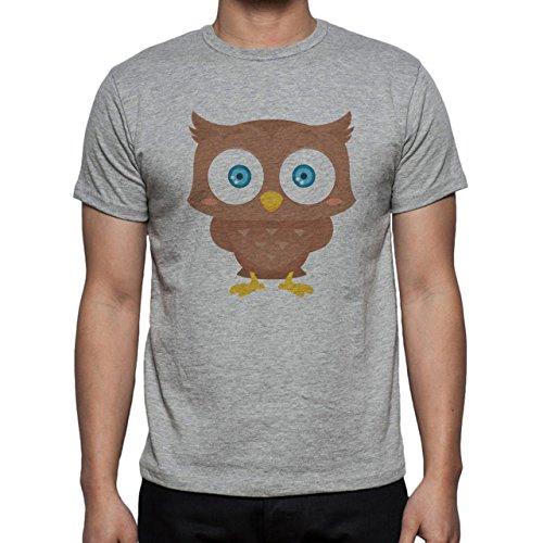 Owl Bird Night Midnighter Big Head Herren T-Shirt Grau
