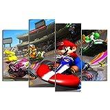 Impressions sur Toile 4 Pièces Jeux HD Art Mario Kart Affiches Peintures Photos Maison Décoration Murale Pas De Cadre 80X120Cm