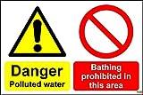 Mehrzweck-Schilder Gefahr belastetes Wasser Baden verboten, in diesem Bereich Allgemeine Sicherheit Schild–1,2mm starrer Kunststoff 400mm x 300mm