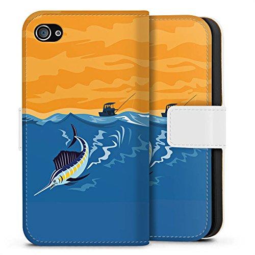 Apple iPhone X Silikon Hülle Case Schutzhülle Schwertfisch Angeln Fisch Sideflip Tasche weiß