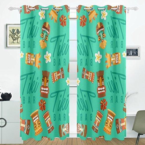 COOSUN Tiki - Cortinas opacas con máscara tribal hawaiana, cortinas oscurecimiento térmicas de poliéster con ojales en la parte superior para dormitorio, sala de estar, 2 paneles (55W x 84L pulgadas)