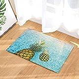 SHUHUI Gelbe Ananas und grüne Blätter im blauen Pool. Wasserdichte Rutschfeste Fußmatten ohne Chemikalien