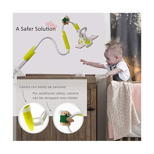 DQTYE Universal Baby Monitor Holder with Straps Infant Video Shelf with Flexible Long Arm Hose Camera Phone Mount 360 Degree Rotation for Bedroom Office Baby Cot + Cable Clip - Green DQTYE 👶 Get the Best View of Your Baby - This baby monitor shelf gives you the perfect view of your baby, no longer limited to the baby camera on the edge of the crib. This baby monitor crib mount can be mounted on a variety of furniture or Window sills, giving you a complete picture of your sleeping baby. You can reposition and bend it to find the best view to see your baby, not to come back and re-adjust the monitor, saving a lot of valuable time. 👶 Universal Device for Most Baby Monitors on the Market - this baby camera stand is suitable for most baby cameras with a base/bracket width between 3.5 and 6.3 inches. We have tested several leading on the market baby monitor brand, don't worry about The size difference. To ensure product safety, do not use a baby monitor with a baby monitor that does not have a separate base/bracket. 👶 Satisfaction Guarantee - We test and improve our products constantly to provide you the absolute best quality at the most excellent every day price possible. If any concerns, send us an e-mail and we will get to you in 24 HOURS. We will give You a 100% refund if you are not completely satisfied with purchase! 4