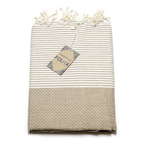 Fouta Abeille Hamam-Tuch Sauna-Tuch Pestemal XXL Extra Groß 197 x 100cm - 100% Baumwolle aus Tunesien als Strand-Tuch, für Bad, Picnic, Yoga, Schal (Orientalisches Türkisches Bade-Tuch) (Beige) (Damen-frottee-liege)