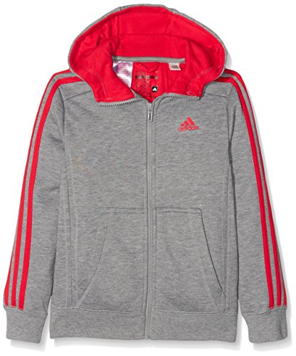 adidas-jungen-essentials-3-stripes-kapuzenjacke-core-heather-vivid-red-176