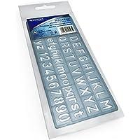 Westcott - Plantilla con número y alfabeto (10 mm, 14,9 x 6,5 cm), color azul transparente