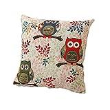 Owls thème en coton lin oreiller décoratif cas cas coussin hiboux et de la branche