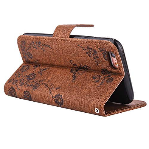 Apple iPhone 6 6S case, Ledowp Bling farfalla in rilievo diamante set Premium pelle PU Flip Cover custodia con chiusura magnetica porta carte di credito per iPhone 6 6S 11,9 cm marrone Light Brown Brown