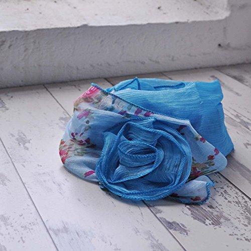 Pour Femmes Fleurs attachéécharpe, a double Motif Imprimé avec Floral et Uni, Léger Écharpe Bleu