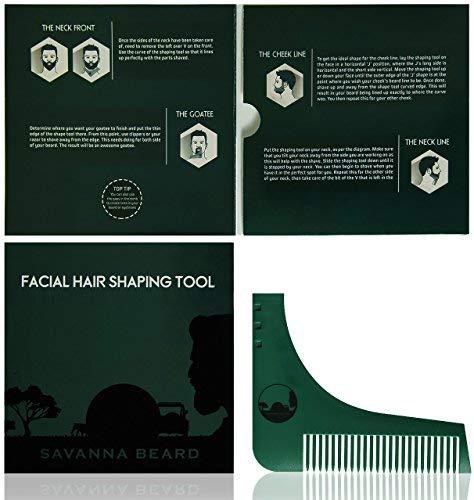 Bart Syling Schablone mit Bart Guide für perfekt symmetrische Rasur - Verwenden Sie dazu den Bart-Trimmer/Rasiermesser um Ihren Bart und die Gesichtsbehaarung zu stylen - Männergeschenk