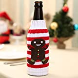 Flocons de neige Arbre de Noël Elk Gingerbread Man Bière Manteau Couverture de bouteille Accueil Xmas Party Decoration Christmas Gift