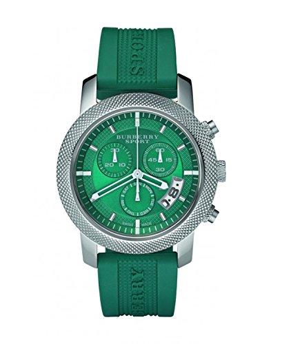 Burberry Unisexe Homme Femme montre Sports Suisse de luxe rond en acier inoxydable chronographe Vert Date Cadran bleu sarcelle Silicone/bande de caoutchouc 40mm Bu7764