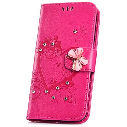Kompatibel mit iPod Touch 6 / iPod Touch 5 Hülle 3D Bling Glitzer Diamant Liebe Blumen PU Leder Hülle Flip Handyhülle Schutzhülle Bookstyle Flipcase Brieftasche Tasche Case für iPod Touch 6/5,Rosa - Touch-bling