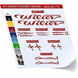 Juego de adhesivos para bicicleta Wilier, 14 unidades, diferentes colores, cód. 0461, Rosso cod. 031