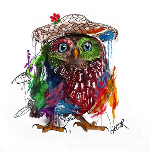 Galeriebilder Kombi Kunstdruck & ORIGINAL MALEREI OWL 70x70cm auf LEINWAND Eule