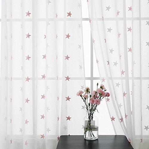 Deconovo tende voile ricamate stella grande pattern tende trasparenti con occhielli per bambini 140x240 cm bianco e rosa due pannelli