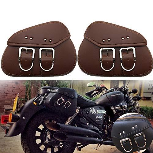 LIDAUTO 2PCS Motorräder Seitenständer Taschen Motorrad-Sattelstamm Gepäckträger-Boxen hinten PU Leder Regenfest Für Harley,Brown