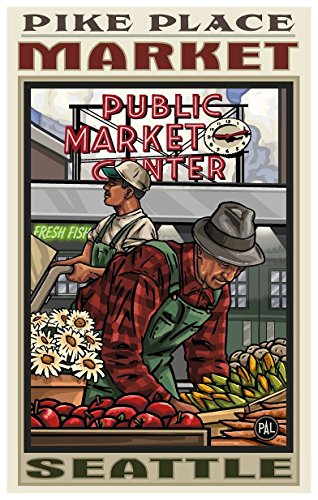 Northwest Art Mall Pike Place Market Seattle Washington Travel Poster Kunstdruck von {Künstler. fullname} ({outputsize. shortdimensions}) 12x18 inch